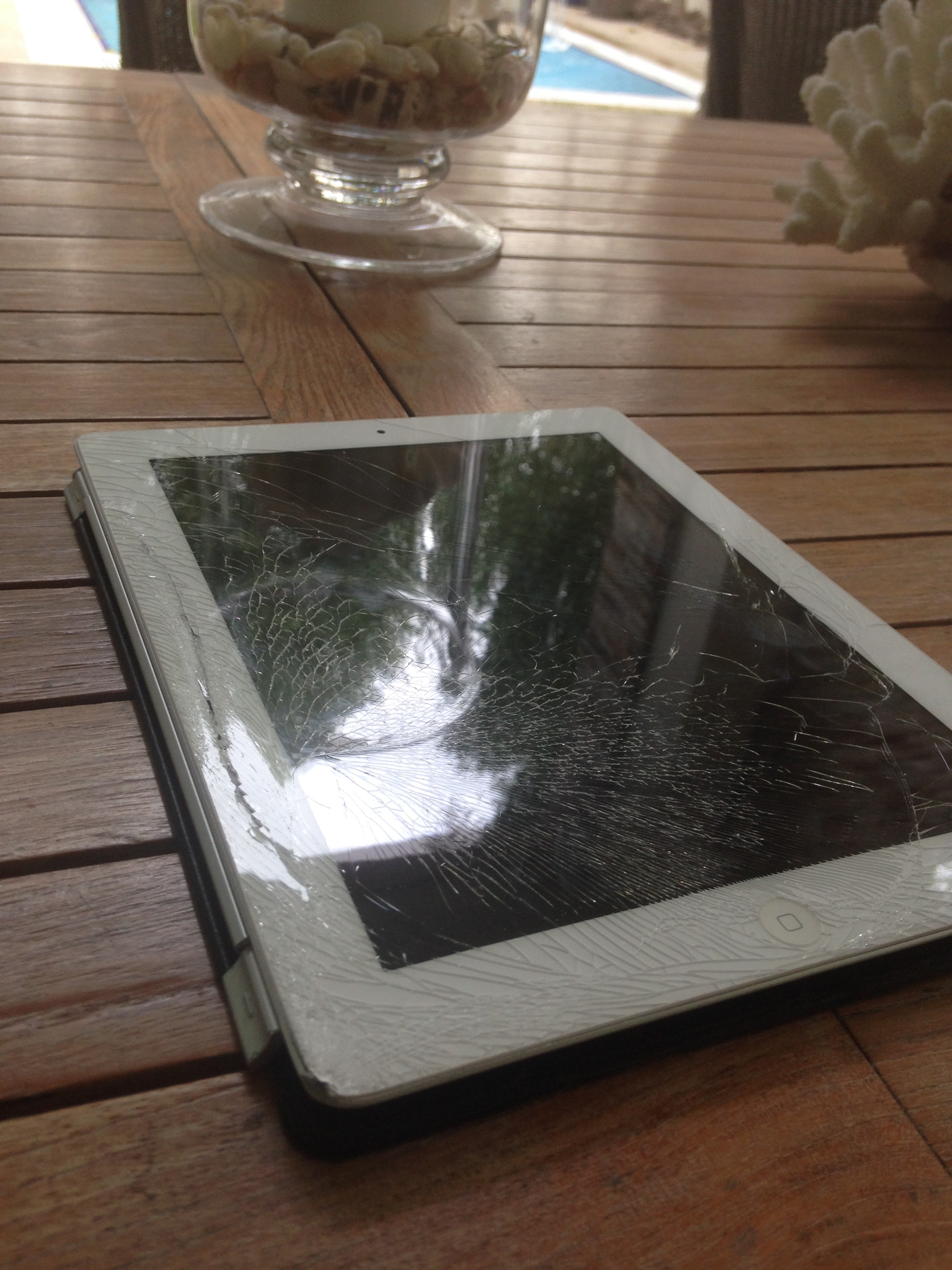 Poolside with a Cracked iPad Screen!
